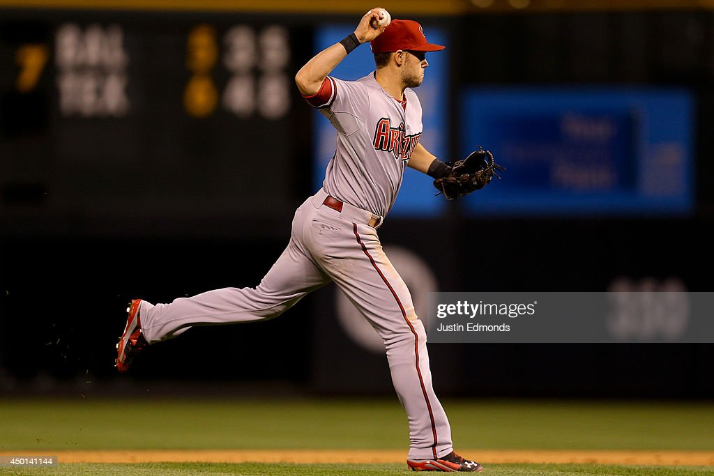 Shortstop Chris Owings #16 of the Arizona Diamondbacks throws to first base on the run for the first out of the sixth inning on a ball off the bat of Corey Dickerson (not pictured) of the Colorado Rockies at Coors Field on June 5, 2014 in Denver, Colorado.