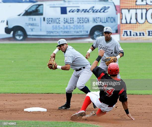 Shortstop Cito Culver of the Staten Island Yankees turns a doubleplay as he puts out David Medina of the Batavia Muckdogs and throws the ball to the...