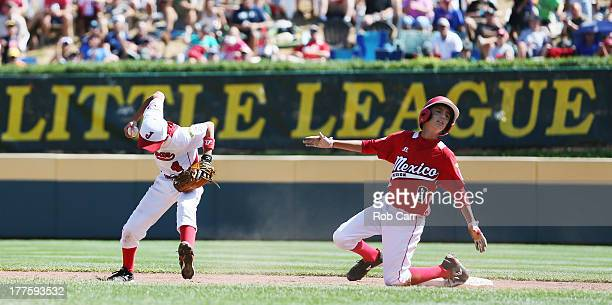 Shortstop Dai Okada of the Tokyo Japan team celebrates after forcing out Jorge Romero of the Tijuana Mexico team for the second out of the sixth...