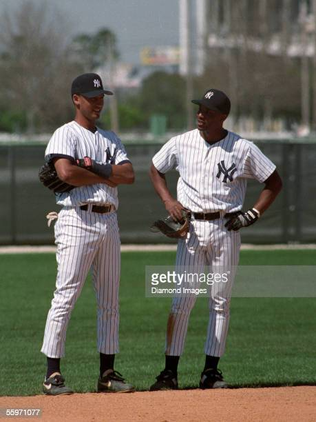 Shortstop Derek Jeter and secondbaseman Carlton Fleming of the New York Yankees during Spring Training on March 17 1994 at the Yankees' minor league...