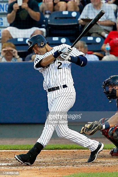 Shortstop Derek Jeter of the New York Yankees bats during a rehab assignment for the Scranton/Wilkes-Barre RailRiders during a game against the...