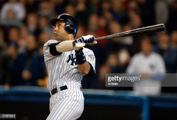 Shortstop Derek Jeter of the New York Yankees is at bat against the Florida Marlins during game six of the Major League Baseball World Series on...