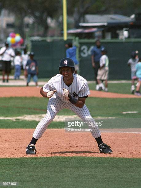 Shortstop Derek Jeter of the New York Yankees leads off firstbase during Spring Training in March 1993 at the Yankees' minor league complex in Tampa...