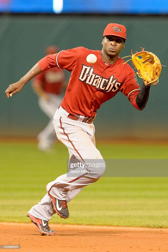 Shortstop Didi Gregorius #1 of the Arizona Diamondbacks fields a ground ball hit Michael Brantley #23 of the Cleveland Indians during the fifth inning at Progressive Field during the second game of a double header on August 13, 2014 in Cleveland, Ohio.