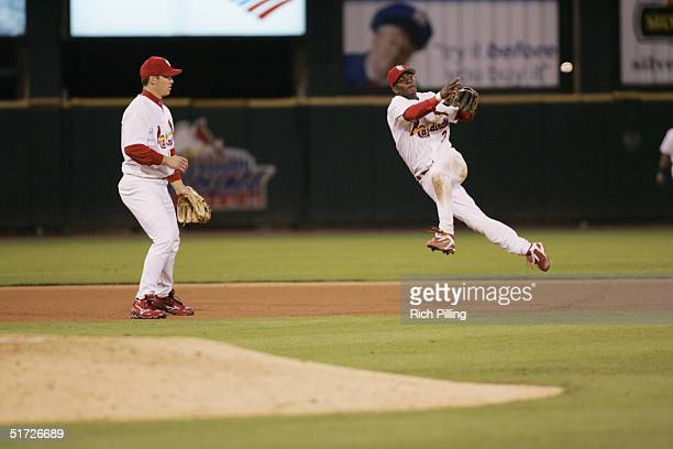 Shortstop Edgar Renteria of the St. Louis Cardinals fields during game one of the NLCS against the Houston Astros at Busch Stadium on October 13,...