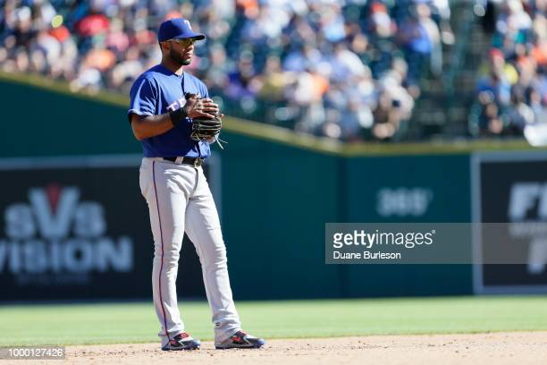 Shortstop Elvis Andrus of the Texas Rangers during a game against the Detroit Tigers at Comerica Park on July 7 2018 in Detroit Michigan