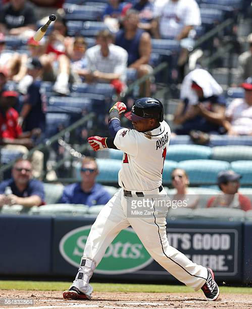 Shortstop Erick Aybar of the Atlanta Braves throws his bat swinging in the third inning during the game against the Philadelphia Phillies at Turner...
