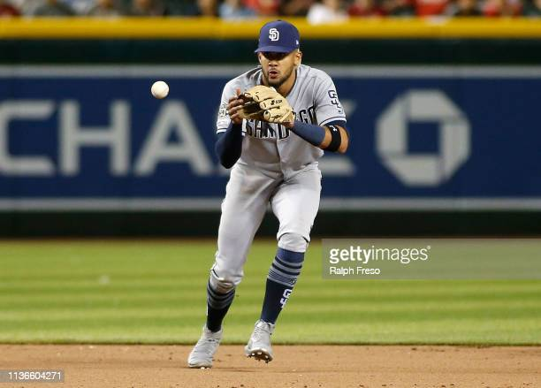 Shortstop Fernando Tatis of the San Diego Padres fields a ball hit by Ildemaro Vargas of the Arizona Diamondbacks during the eighth inning of an MLB...