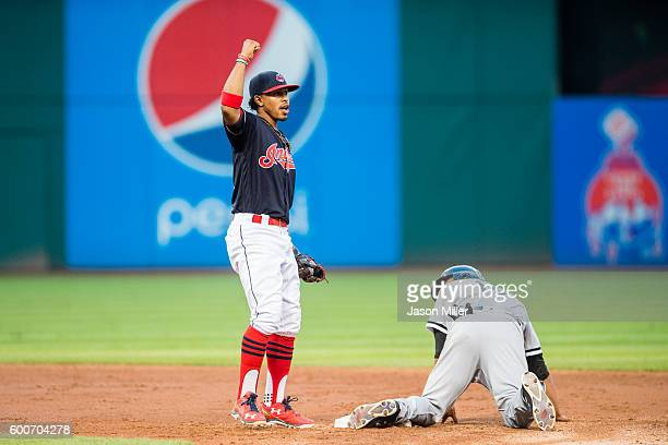 Shortstop Francisco Lindor of the Cleveland Indians celebrates after tagging out Tyler Saladino of the Chicago White Sox on an attempted stolen base...