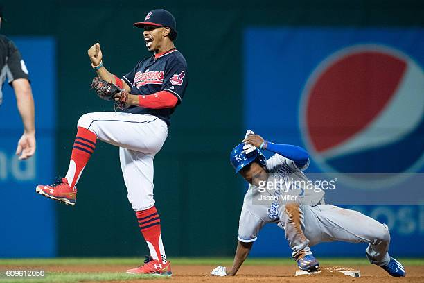 Shortstop Francisco Lindor of the Cleveland Indians celebrates after taking out Terrance Gore of the Kansas City Royals trying to steal during the...