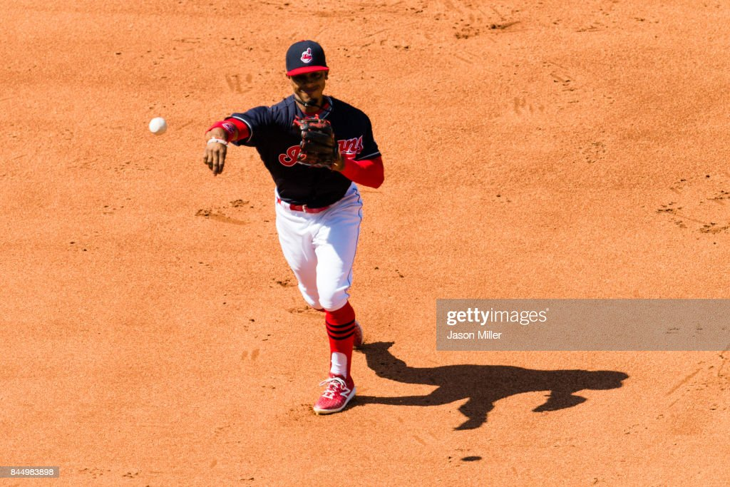 Shortstop Francisco Lindor #12 of the Cleveland Indians throws out Austin Hays #18 of the Baltimore Orioles at first to end the top of the fifth inning at Progressive Field on September 9, 2017 in Cleveland, Ohio.