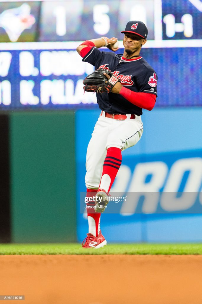 Shortstop Francisco Lindor #12 of the Cleveland Indians throws out Bryan Holaday #50 of the Detroit Tigers at first during the fifth inning at Progressive Field on September 12, 2017 in Cleveland, Ohio.