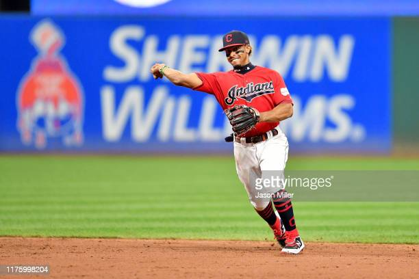 Shortstop Francisco Lindor of the Cleveland Indians throws out Miguel Cabrera of the Detroit Tigers at first to end the top of the fifth inning at...