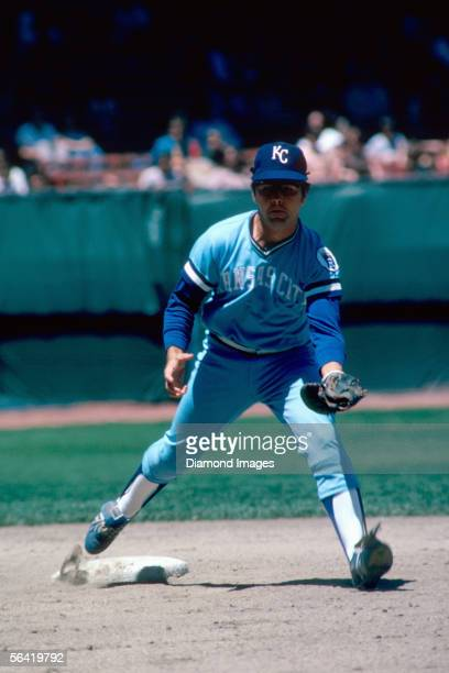 Shortstop Fred Patek of the Kansas City Royals fields double play tosses prior to a game in June 1974 at Municipal Stadium in Cleveland Ohio