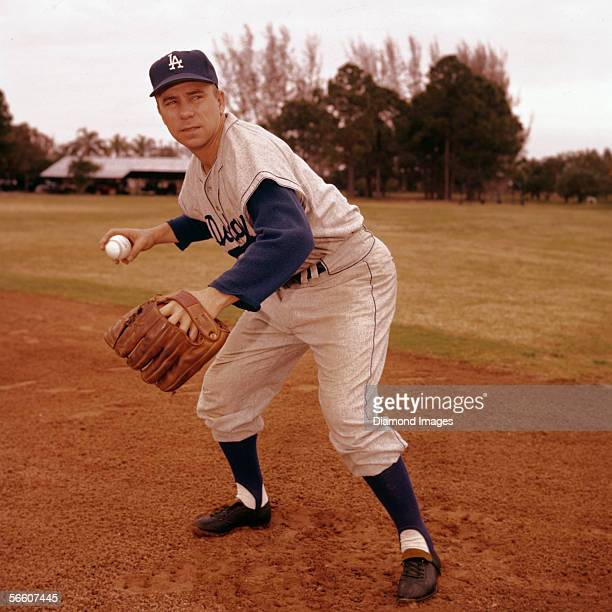 Shortstop Harold Pee Wee Reese of the Los Angeles Dodgers poses for a portrait during Spring Training in March 1958 in Vero Beach Florida