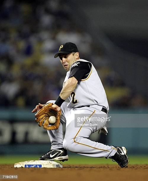 Shortstop Jack Wilson of the Pittsburgh Pirates fields a bounciing throw to record a force out against the Los Angeles Dodgers in the second inning...