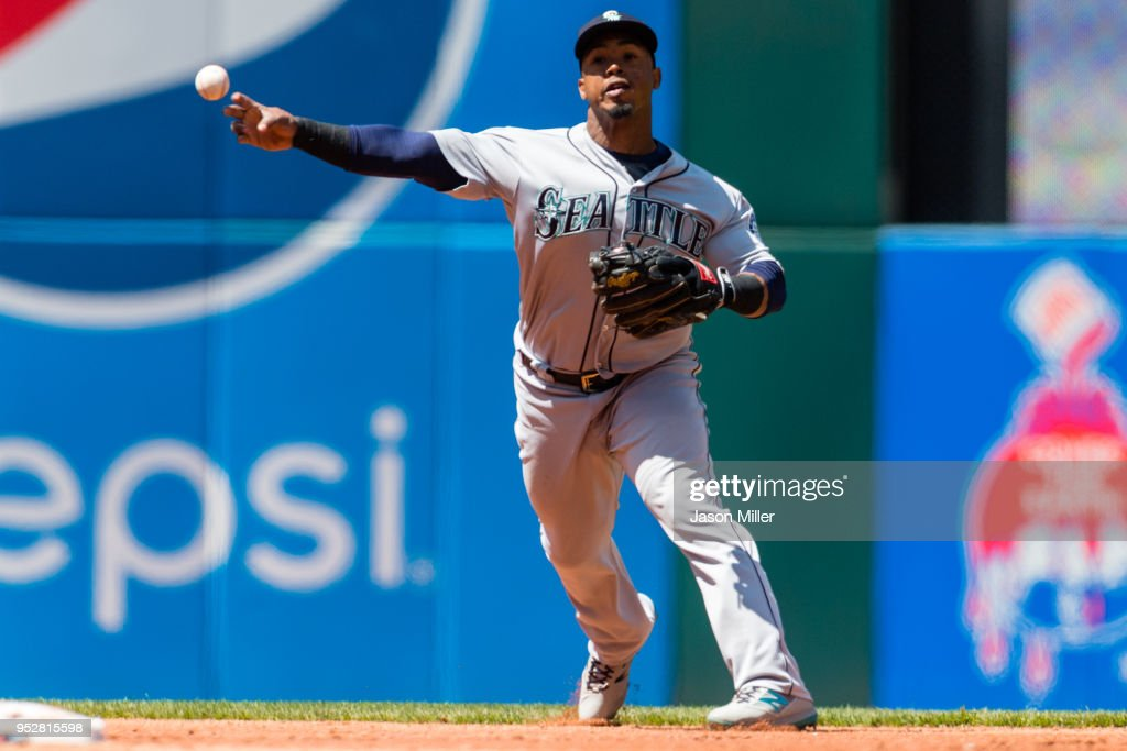 Shortstop Jean Segura #2 of the Seattle Mariners throws out Francisco Lindor #12 of the Cleveland Indians to end the second inning at Progressive Field on April 29, 2018 in Cleveland, Ohio.