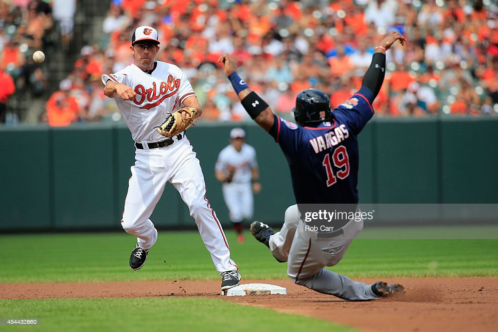 Shortstop J.J. Hardy #2 of the Baltimore Orioles throws to first base after forcing out Kennys Vargas #19 of the Minnesota Twins for a double play to end the second inning at Oriole Park at Camden Yards on August 31, 2014 in Baltimore, Maryland.