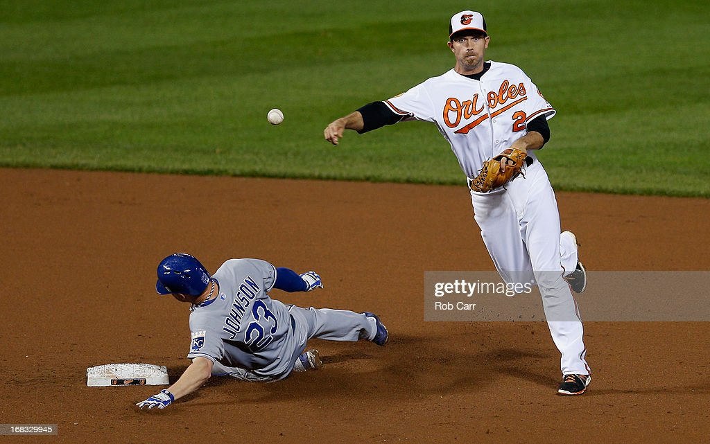 Shortstop J.J. Hardy #2 of the Baltimore Orioles throws to first base to turn a double play after forcing out Elliot Johnson #23 of the Kansas City Royals in the ninth inning of the Orioles 5-3 win at Oriole Park at Camden Yards on May 8, 2013 in Baltimore, Maryland.