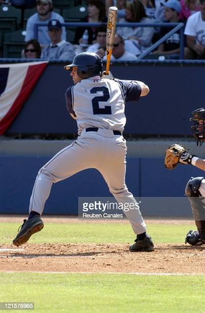 Shortstop Joe Viscuso of the Rhode Island Rams at the plate against the Pepperdine Waves in a 2 to 1 loss in the NCAA Long Beach Regional on June 4...