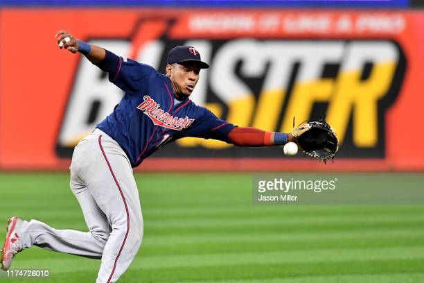 Shortstop Jorge Polanco of the Minnesota Twins grabs a ground ball hit by Carlos Santana of the Cleveland Indians during the seventh inning of the...