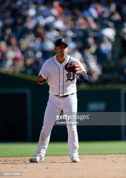 Shortstop Jose Iglesias of the Detroit Tigers against the Texas Rangers at Comerica Park on July 7 2018 in Detroit Michigan