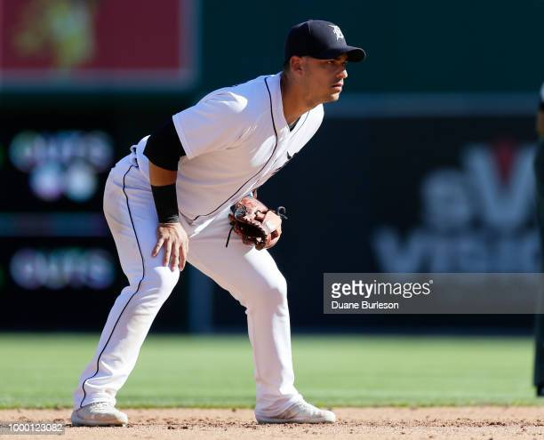 Shortstop Jose Iglesias of the Detroit Tigers during a game against the Texas Rangers at Comerica Park on July 7 2018 in Detroit Michigan