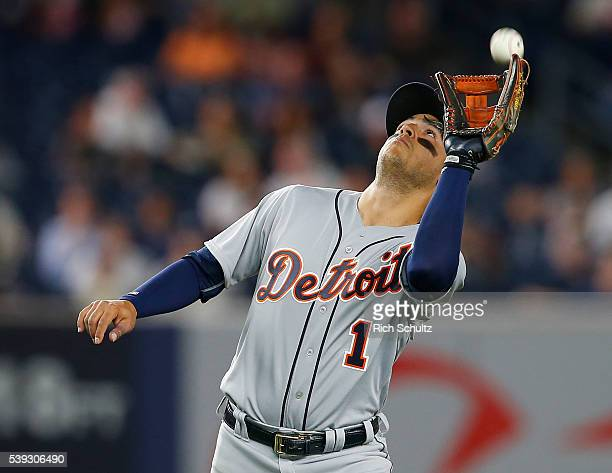 Shortstop Jose Iglesias of the Detroit Tigers makes a catch on a popup hit by Carlos Beltran of the New York Yankees during the fifth inning of a...