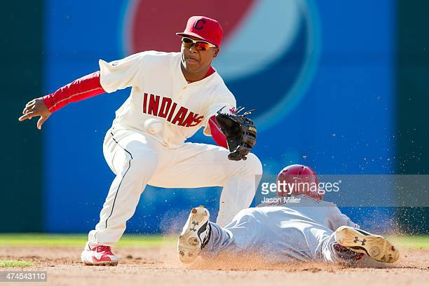 Shortstop Jose Ramirez of the Cleveland Indians makes the play as Billy Hamilton of the Cincinnati Reds is out at second on a steal attempt during...