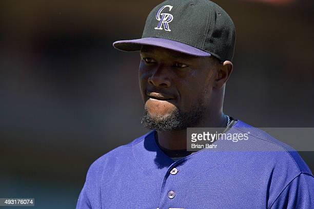 Shortstop Jose Reyes of the Colorado Rockies comes off the field after closing out the sixth inning against the San Francisco Giants at ATT Park on...
