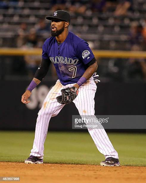 Shortstop Jose Reyes of the Colorado Rockies plays defense against the Seattle Mariners during interleague play at Coors Field on August 3 2015 in...