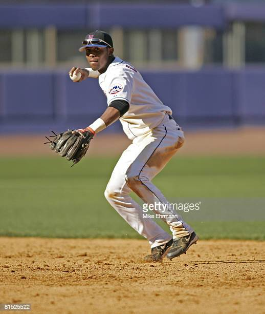 Shortstop Jose Reyes of the New York Mets makes a throw to first during their opening day game against the Houston Astros at Shea Stadium in Queens...