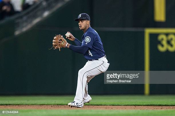 Shortstop Ketel Marte of the Seattle Mariners makes a throw to first base during a game against the Oakland Athletics at Safeco Field on September 30...