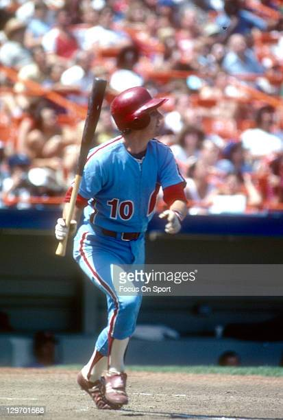 Shortstop Larry Bowa of the Philadelphia Phillies bats against the New York Mets during an Major League Baseball game circa 1981 at Shea Stadium in...