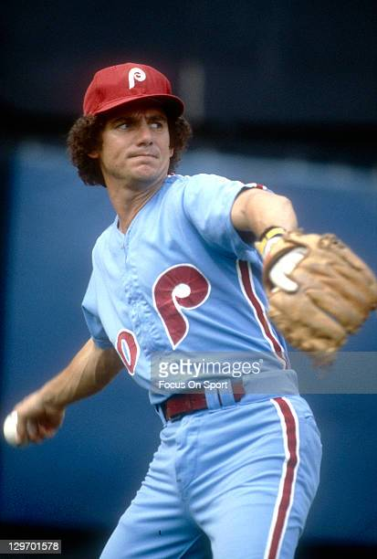Shortstop Larry Bowa of the Philadelphia Phillies sets to make a throw to first base during an Major League Baseball game circa 1978 Bowa played for...