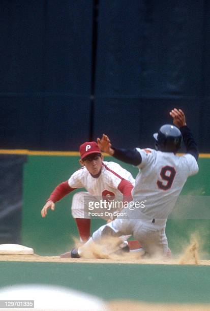Shortstop Larry Bowa of the Philadelphia Phillies tags the runner out during an Major League Baseball game circa 1970 at Veteran Stadium in...