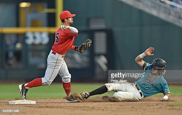 Shortstop Louis Boyd of the Arizona Wildcats turns a double play with a throw to first over base runner Zach Remillard of the Coastal Carolina...