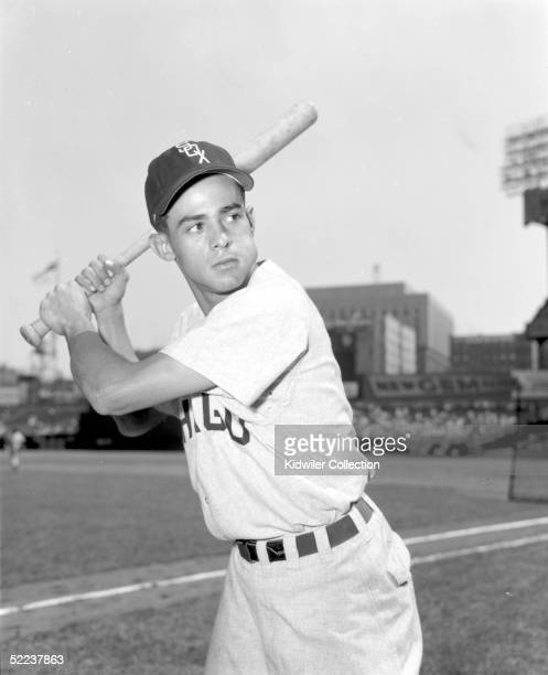 Shortstop Luis Aparicio of the Chicago White Sox poses for an action portrait before a 1956 season game against the New York Yankees at Yankee...