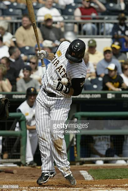 Shortstop Luis Cruz of the Pittsburgh Pirates is hit by a pitch thrown by pitcher Brad Thompson of the St Louis Cardinals during a game at PNC Park...