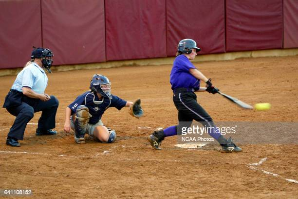 Shortstop Michelle Wong of the University of St Thomas picks up a single against Moravian College during the Division III Women's Softball...