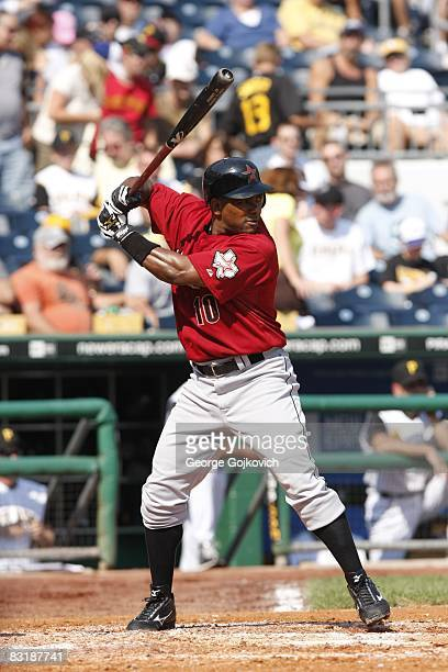 Shortstop Miguel Tejada of the Houston Astros bats against the Pittsburgh Pirates at PNC Park on September 21 2008 in Pittsburgh Pennsylvania The...