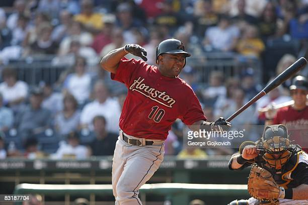 Shortstop Miguel Tejada of the Houston Astros fouls off a pitch while batting against the Pittsburgh Pirates during a game at PNC Park on September...