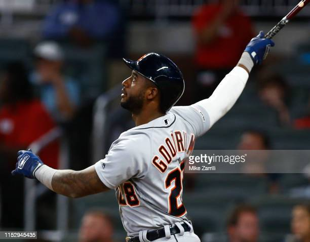 Shortstop Niko Goodrum of the Detroit Tigers hits a solo home run in the eighth inning during the game against the Atlanta Braves at SunTrust Park on...