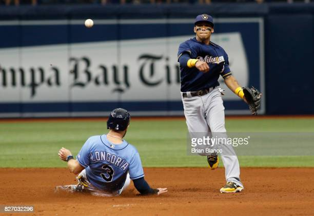Shortstop Orlando Arcia of the Milwaukee Brewers gets the forced out at second base on Evan Longoria of the Tampa Bay Rays off of then turns the...