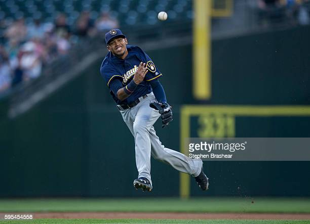 Shortstop Orlando Arcia of the Milwaukee Brewers throw to first during a game against the Seattle Mariners at Safeco Field on August 19 2016 in...