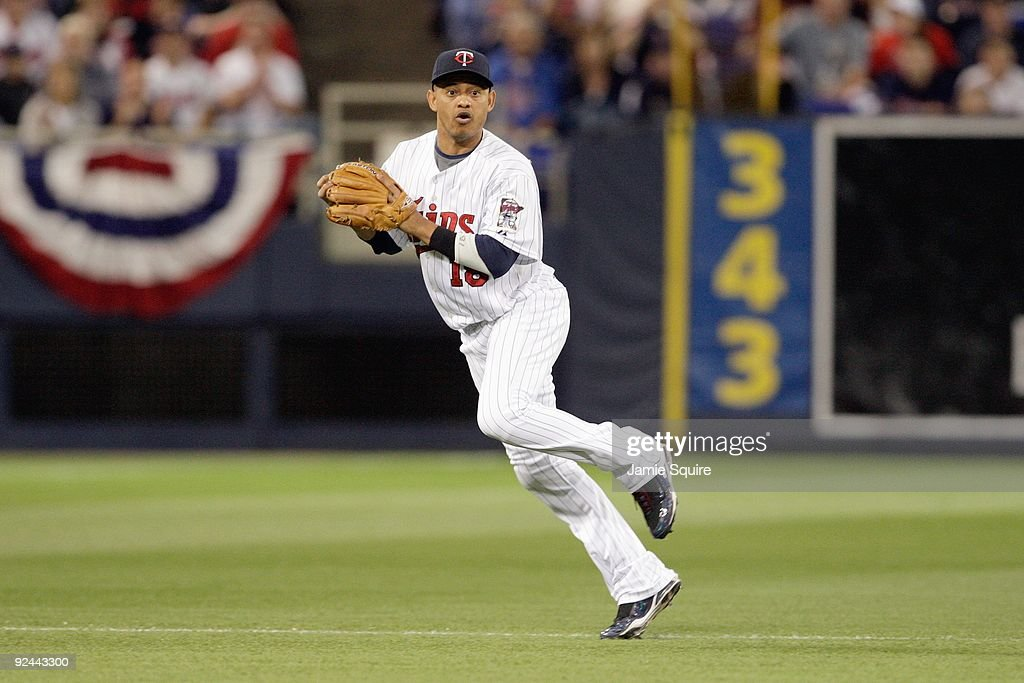 Shortstop Orlando Cabrera #18 of the Minnesota Twins fields the ball during the 9th inningof the American League Tiebreaker game against the Detroit Tigers on October 6, 2009 at Hubert H. Humphrey Metrodome in Minneapolis, Minnesota.