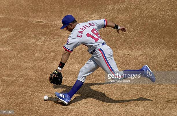 Shortstop Orlando Cabrera of the Montreal Expos dives for the ball during the Interleague MLB game against the Chicago White Sox on June 9, 2002 at...