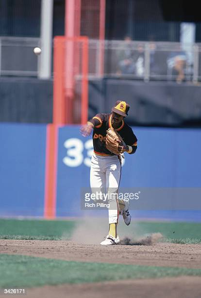 Shortstop Ozzie Smith of the San Diego Padres throws the ball to first base during a game circa the 198081 season