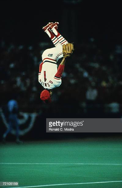 Shortstop Ozzie Smith of the St Louis Cardinals does the Ozzie flip upon taking the field at the start of the 1985 World Series game 5 against the...