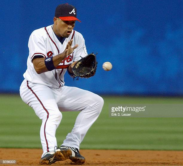 Shortstop Rafael Furcal of the Atlanta Braves fields a ground ball from Ricky Gutierrez of the New York Mets in the second inning at Turner Field on...